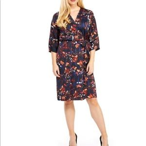Maggy London Floral Charmeuse Faux Wrap Dress